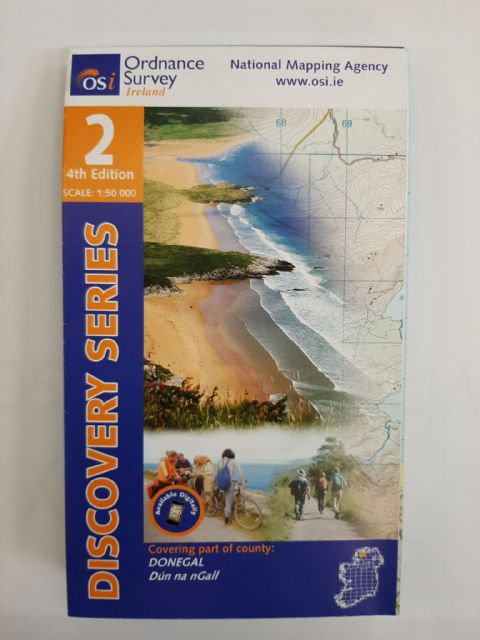 OS Discovery Sheet 2 Donegal - North & Central 1:50 000 scale - Full Colour